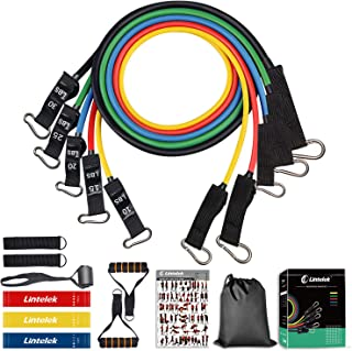 Lintelek 14pcs Resistance Bands Set, Include 5 Stackable Exercise Bands with 3 Resistance Loop Bands, Elastic Bands for Exercising with Door Anchor, Leg Ankle Straps, Guide Book, Heavy Resistance Tube