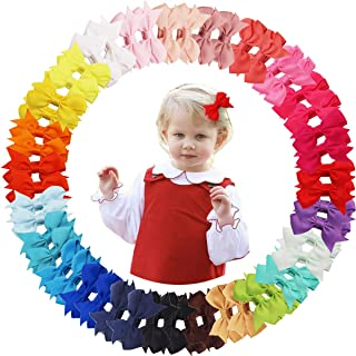 50PCS Hair Bows Clips for Fine Hair 2inch Tiny Grosgrain Ribbon Baby Bows Alligator Hair Clips Fully Lined for Infants New...