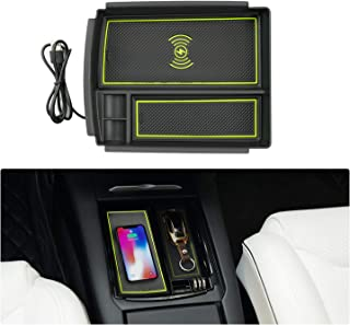 YEE PIN Center Console Armrest Storage Box with Qi Wireless Charging for Tesla Model S X, Classified Storage Safe and Quick Filling Car Wireless Charger