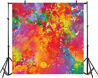 Leyiyi Artist Mixing Color Palette Backdrop 4x4ft Photography Background Graffiti Cement Wall Shabby Chic Colorful Stained Wall Grunge Culture HIO-hop Boy Cool Adult Portraits Studio Props
