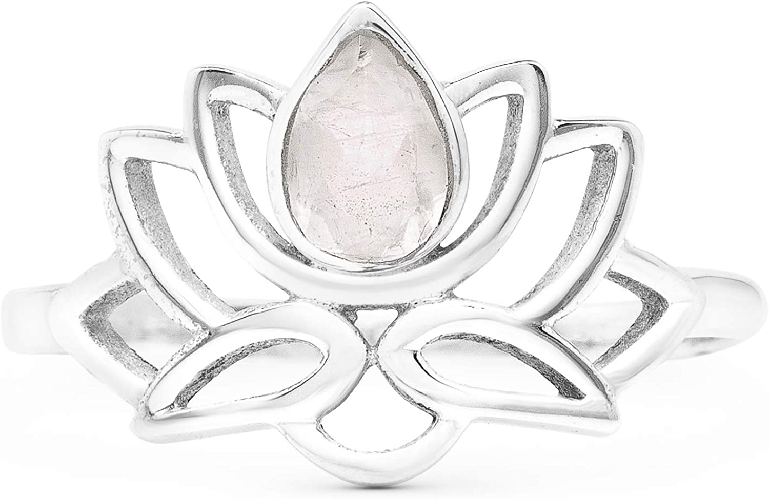 Direct sale of manufacturer Koral Jewelry Cut Pear Moonstone Cheap mail order sales Lotus Silver Sterling 925 Ring