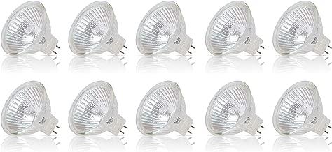 Simba Lighting Halogen MR16 20W 12V Light Bulbs (10 Pack) for Landscape, Track Lights, Fiber Optics, Desk Lamps, BAB C Spotlights with Glass Cover, GU5.3 Bi Pin Base, 2700K Warm White Dimmable