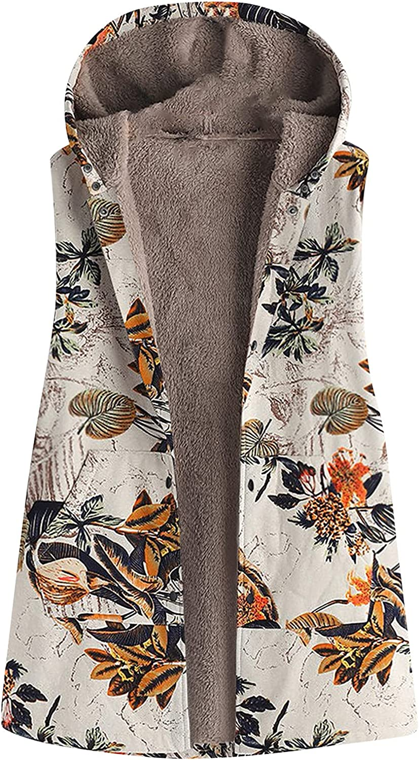 Women Casual Outerwear Vest Retro Floral Printed Hooded Top Coat Sleeveless Pocket Plush Jacket