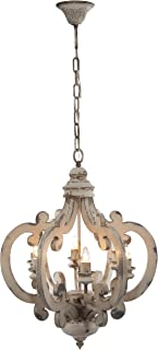 """A&B Home Wood and Metal Chandelier, 20.5"""" x 18"""" x 24"""""""
