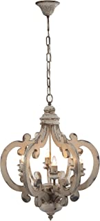 A&B Home Wood and Metal Chandelier, 20.5