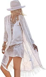 Women's Bikini Cover up Beach Sheer Bathing Suit Robe Cardigan Swimwear Kimono Open Front One Size