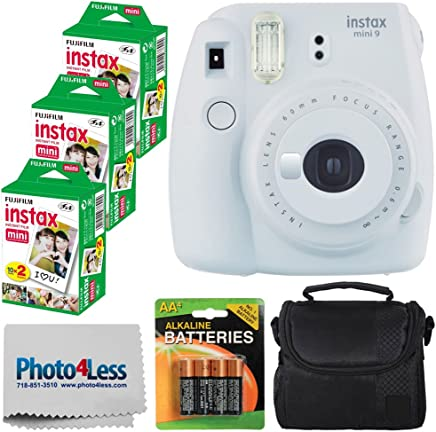 Fujifilm instax Mini 9 Instant Film Camera (Smokey White) + Fujifilm Instax Mini Twin Pack Instant Film (60 Shots) + Compact Camera Case + 4 AA Batteries + Cleaning Cloth - Full Accessory Bundle