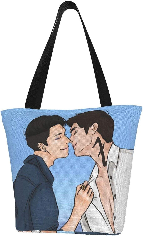 Cool Lgbt Gay Cool Men Themed Printed Women Canvas Handbag Zipper Shoulder Bag Work Booksbag Tote Purse Leisure Hobo Bag For Shopping