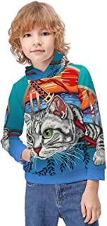 Kid's Novelty Sweater Ninja Cat Cool Graphic Thicken Hoodies Warm Hooded Pullover Top Sweatshirt-