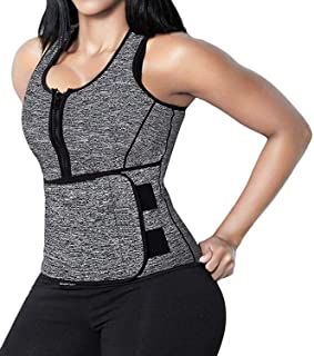 SHAPERX Women Neoprene Hot Sweat Sauna Suit Waist Trainer Vest Adjustable Waist Trimmer Belt Tank Top