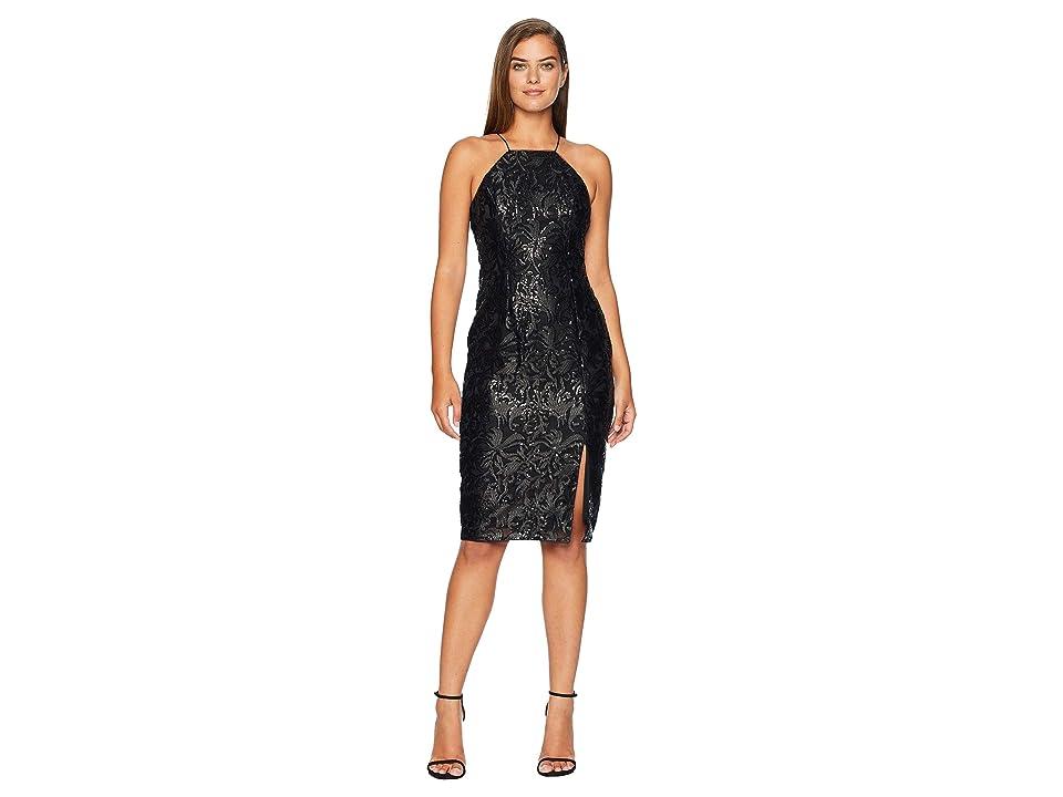 Adrianna Papell Halter Sequin Dress (Black) Women