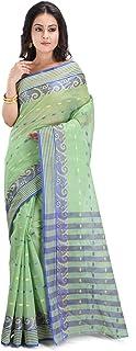 RAJ SAREE HOUSE Women's Tant Cotton Saree Without Blouse Piece (RSH-802, Olive)