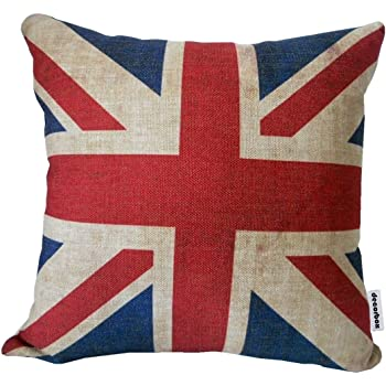 "Velvet Union Jack Luv Heart Blue Red Cushion Cover Pillow Case 12/"" x 16/"" UK MADE"