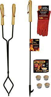 EXCURSIONS Journey To Health Fireplace Fire Pit Campfire Tool Gift Set – Firetender Tongs Poker Gloves and Firestarters
