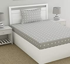 haus & kinder Candy Polka 186 TC 100% Cotton Single Bedsheet for Kids Room with 1 Pillow Cover (Grey)