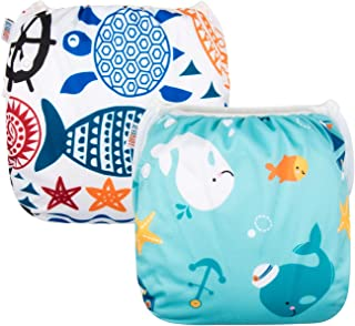 ALVABABY Swim Diapers for 0-3 Years Large Size 2pcs Reuseable Washable & Adjustable for Swimming Lesson & Baby Shower Gifts