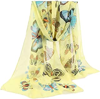 Letuwj Women's Butterfly Printed Shawls Soft Stole Wrap