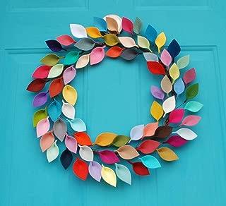 Orchid & Ivy 16-Inch Rainbow Colors Modern Felt Leaf Wreath - Fall or Christmas Wreath Decoration
