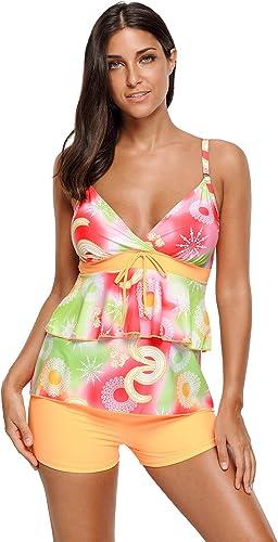 ATYMD Maillot de Bain Femme Bikini Orange Vert Boho Imprimé 2pcs Maillot de Bain Tankini Assorti chale de Plage