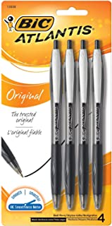 BIC VCGP41-Blk Atlantis Original Retractable Ballpoint Pen Medium Point (1.0 mm)- Black, Pack of 4 Pens