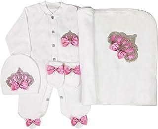 WR Home Decore Neugeborenes Baby Mädchen Krone und Schmuck nach Hause kommend 3 Stück Strampler Set, 0-3 und 3-6 Monate