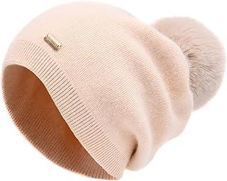 Sponsored Ad - jaxmonoy Pom Pom Slouchy Beanies for Women Winter Cashmere Knit Beanie Hat with Pompom Double Layer Warm Wo...