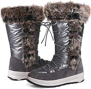 أحذية ثلج شتوية جذابة للنساء، حذاء برقبة تصل إلى منتصف الساق مقاوم للماء ومبطن بالكامل بالفرو الدافئ في الهواء الطلق جزمة ...