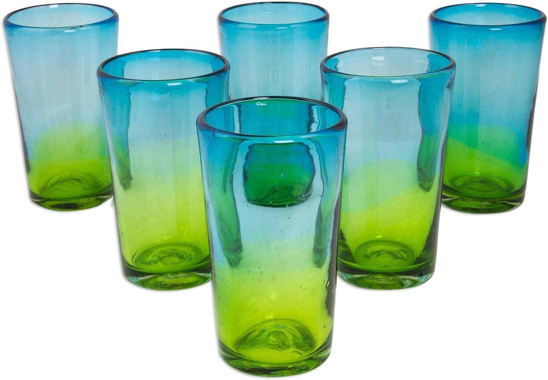 NOVICA 258095 Aurora Tapatia Blown Highball Glasses, 6  Tall, bluee