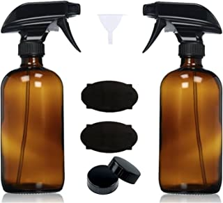 Empty Amber Glass Spray Bottles with Sprayers, Labels and Funnel (2 Pack) - 16oz Refillable Container for Essential Oils, Cleaning Products, or Aromatherapy (2 pack w/Sprayer)