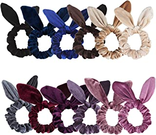 Chanaco 12 Pack Hair Scrunchies Velvet Scrunchy Hair Bobbles Elastic Hair Bands Ponytail Holder Rabbit Bunny Ear Style Hair Ties, 12 Colors