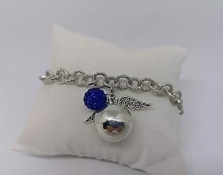 Bracciale chiama angeli con pallina strass blu. Realizzato a mano in acciaio e alluminio anallergico e senza nichel. Idea ...