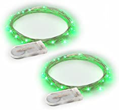 RTGS Products Green Colored LED Lights Indoor Outdoor String Lights, Fairy Lights Battery Powered Patio, Bedroom, Holiday Decor, etc. (GREEN COLOR 20 LEDs 6.5 FEET 2 SETs)