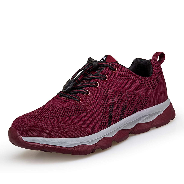貢献する損傷トランペット[YYX0412] 安全靴 メンズ/レディーズ クライミングシューズ ニット 作業靴 軽量 ウオーキングシューズ 通気 通勤 作業 大きいサイズ 滑りにくい 外反母趾 レースアップ 無地 スニーカー 赤 25.0cm