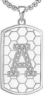 قلادة معدنية بالحرف الأول من إي إل زي من الفضة الإسترلينية للرجال بتصميم حرف كبير مجوهرات ستانلس ستيل سلسلة رولو 24 بوصة