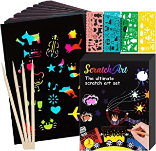 Miden 59 Pcs Rainbow Scratch Paper Art Set for Kids, Magic Rainbow Scratch Off Paper Arts and Crafts Supplies Kit for Girl...