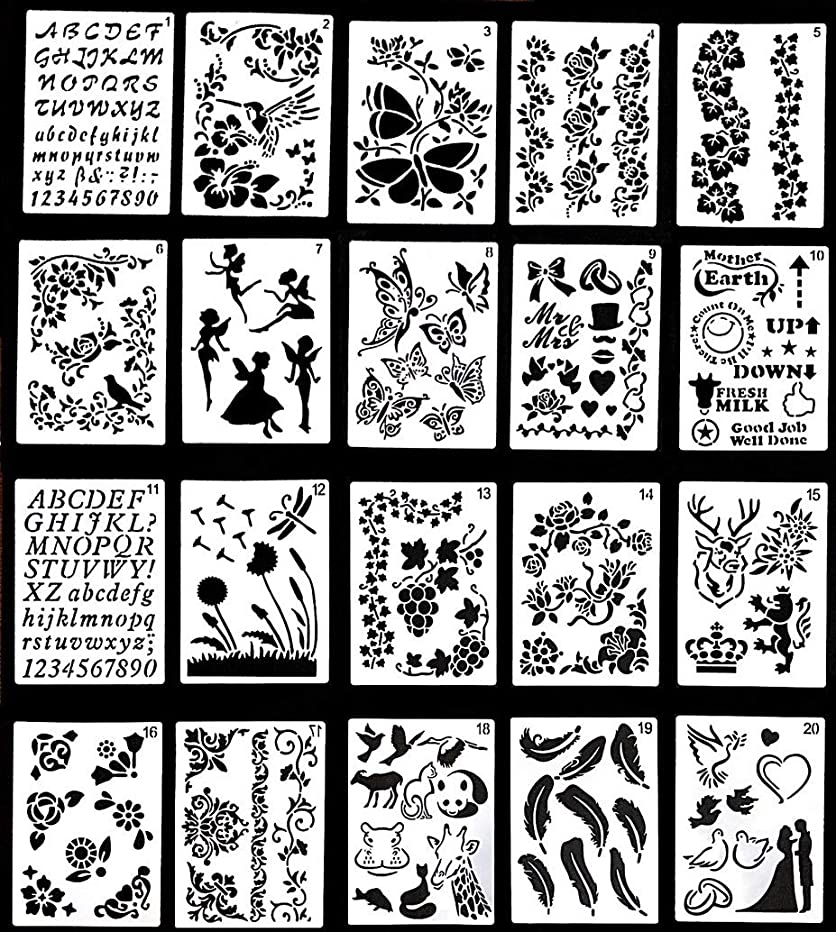 Journal Stencil Set,Reusable Plastic Stencils for Journaling, Painting, Scrapbooking, Diary, Arts, Crafts 20 Templates,Numbers, Letters, Shapes, Patterns, Borders (13X18cm)