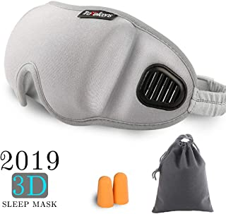 Epomay Updated 3D Sleep Mask - Unique Air Ventilated No Pressure Eye Mask for Sleeping, Travel, Airplane, Insomnia - Light Blockout with Adjustable Anti-Slip Gel/Ear Plugs Pouch for Men Women (Gray)