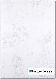 Betterpress® Lot de 100 feuilles de papier à lettre marbré gris 120 g A4 – Papier à lettre de qualité supérieure – Papier ...