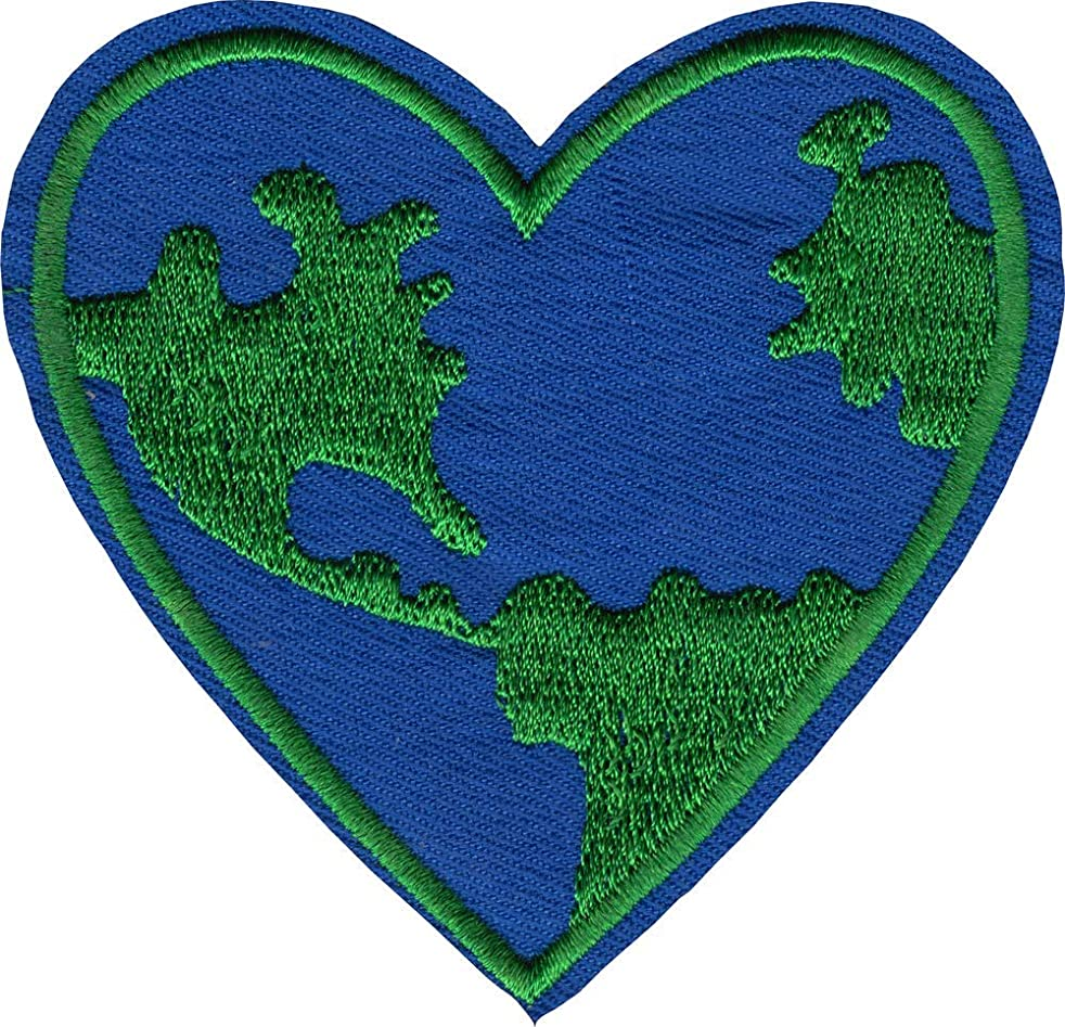 Planet Earth Heart - Cut Out Embroidered Iron On or Sew On Patch