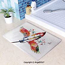 SCOXIXI Living Room Bedroom Carpet Thicken Non-Slip Mat Imaginary Feather Fashioned of a Bird with Musical Harmony in Universe Theme for Home Hotel Cafe Restaurant Area Rugs.W15.7xL23.6(inch)