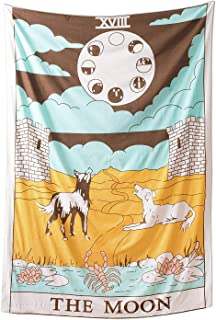 Tarot Flag Tapestry The Moon The Sun The Star Tapestry Hippie Cotton Printed Handmade Wall Hanging Wall Tapestries Boho Decor Dorm Room Decor, Yoga Mat Med ((30 X 40 inches Approx), Orange The Moon)