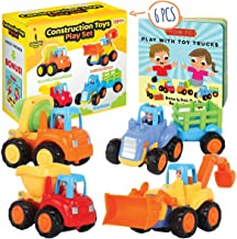 Storybook Toys for 2 Year Old Boy - Toddler Construction Toy Trucks for 2 Yr Old Boys - Push & Pull Cars for Two Year Olds - Educational Play Set for Kids Age 1, 2, 3 - Learning Toys for 1 Year Old