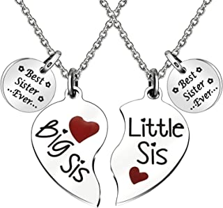 JQFEN Best Sister Ever Big Sister Little Sister Pendants Necklaces Friend Daughter Heart Necklace Jewelry