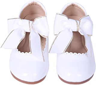 Toddler Shoes Leather Squeaky Shoes Toddler Infant Girls Brown Shoes With Pink Daisys UK Sizes 3-8 F Fitting