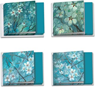 Blooming Branches - 12 Sympathy Note Cards with Envelopes (4 x 5.12 Inch) - Beautiful Empathy Watercolor Flower Greeting Cards - Colorful Assorted Notecard Set (3 Each 4 Designs) MQ4596SMG-B3x4