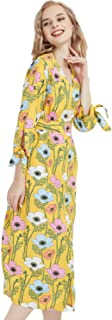 Basic Model Womens Summer Dresses Short Sleeve Round/V Neck Floral Maxi Dress Boho Beach Midi Dress