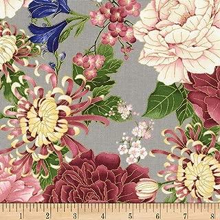 Timeless Treasures 0561309 Metallic Sakura Chrysanthemums & Peonies Grey Fabric by the Yard