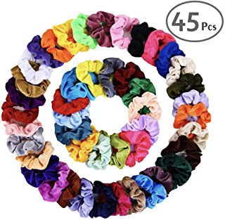 Hair Velvet Scrunchies Elastic Hair Bands 45 PCS Assorted Colors Scrunchies Hair Ties Womens & Girls Headwear Soft Elastic Bandage