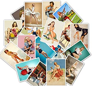 Sexy Lady Stickers for Adult, Trendy Girl Pin Up Laptop Vinyl Decal for Guitar Phone Computer Travel Case Water Bottle Skateboard Bike Moto Luggage Retro Women Stickers