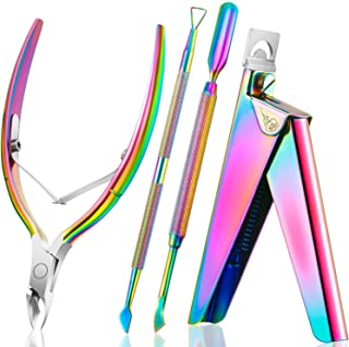 4 in 1 Acrylic Nail Clipper False Nail Tips Clipper Cuticle Trimmer Nipper with Cuticle Pusher Cuticle Remover, Stainless Steel Nail Manicure Set for Salon Home Nail Art Manicure Tool (Rainbow Color)
